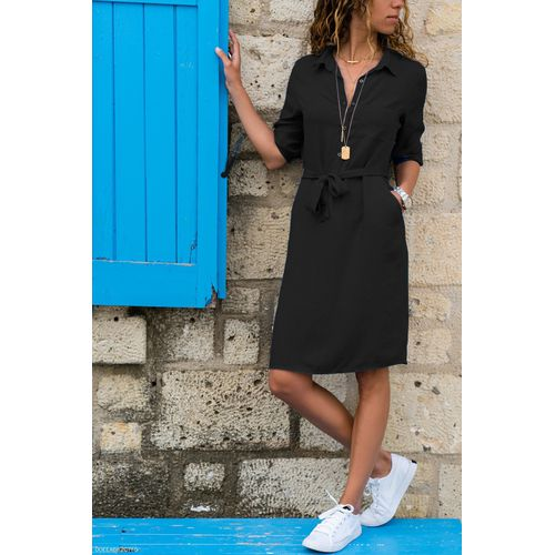 Turtleneck Shirt Dress With Seven Sleeves