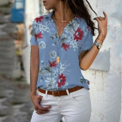 Floral Printed Shirts V Neck Casual Work Blouses Plus Size Lady Tops