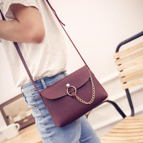 Women Leather Litchi Stria Handbag Crossbody Single Shoulder Messenger Bag
