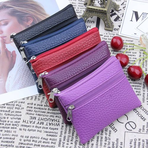 Women Men Leather Wallet Multi Functional zipper Leather Coin Purse Card Wallet