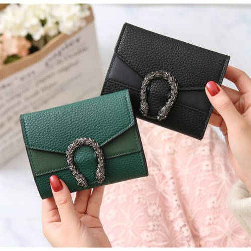 Retro Elegant Ladies Tri-fold Leather Wallet Dragon Small Hasp Wallet Short Clutch Coin Purse Money Pockets Credit/ID Cards Holder Purse