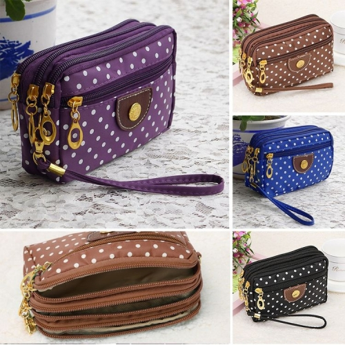 Fashion Women's Multi-layer Polka Dots Card Key Zipper Purse Wallet Coin Bag Pouch