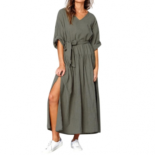 Dress Women Long Sleeve V Neck Split Solid Sashes fashion Dresses Ladies Casual Loose Maxi dress women