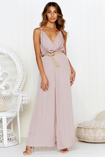 Spaghetti Strap Jumpsuit Women Backless Sexy Cross Summer Jumpsuit Wide Leg Pants Beach Romper Long Bodysuit Casual Overall