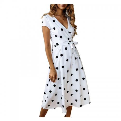 Summer Dress Women Vintage Dress Casual Polka Dot Print Party Dresses Sexy V-neck Short Sleeve Long Dress Fashion