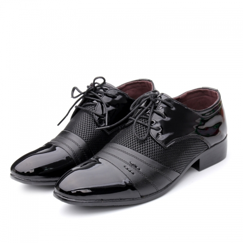 New four seasons men's casual pointed leather shoes youth Korean extra large men's shoes fashion dress shoes
