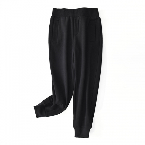 Autumn and Winter 2020 New Lazy Leisure  Loose Waist Harun Nine-point Trousers Pure Color Tied Feet Plus Velvet Trousers