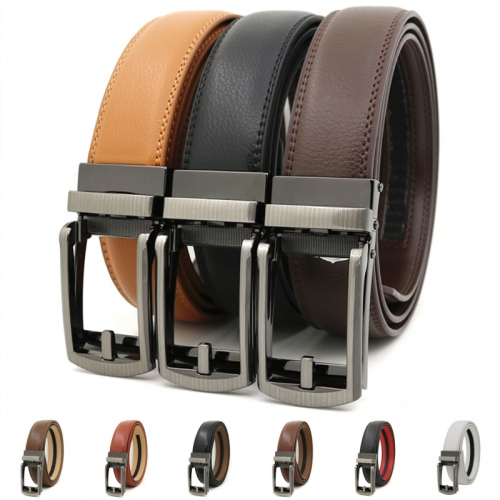 Leather belt with auto buckle for men