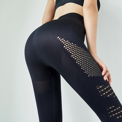 Net Red Ins Skin Friendly Quick Drying Hollow Out Fitness Pants Women's High Waist Hip Lifting Tight Elastic Yoga Pants Summer