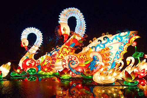 Chinese lighting lantern festival silk cloth chinese lanterns