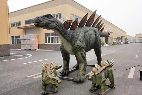 Hand made life size stegosaurus group