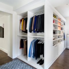 Wood open wardrobe interior design, walk in closet