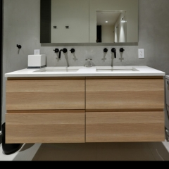 Wood tone wall mounted vanity