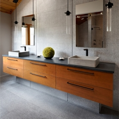 Contemporary timber grain doule bowls vanity