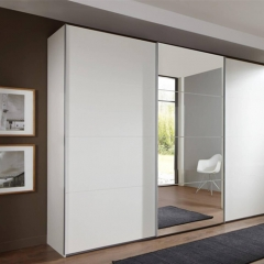 White mat painting sliding door with mirror cloest