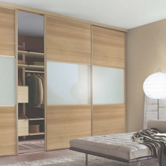 Timber tone sliding door closet