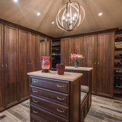 Rustic stained cherry wood casement closet
