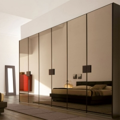 Brass color glass door closet
