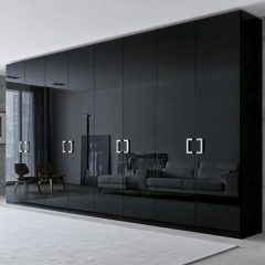 High gloss black painted lacquer casement wardrobe