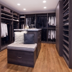 Dark wood grain walk in closet