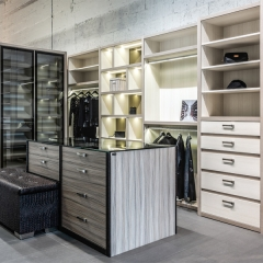 wood tone walk in wardrobe