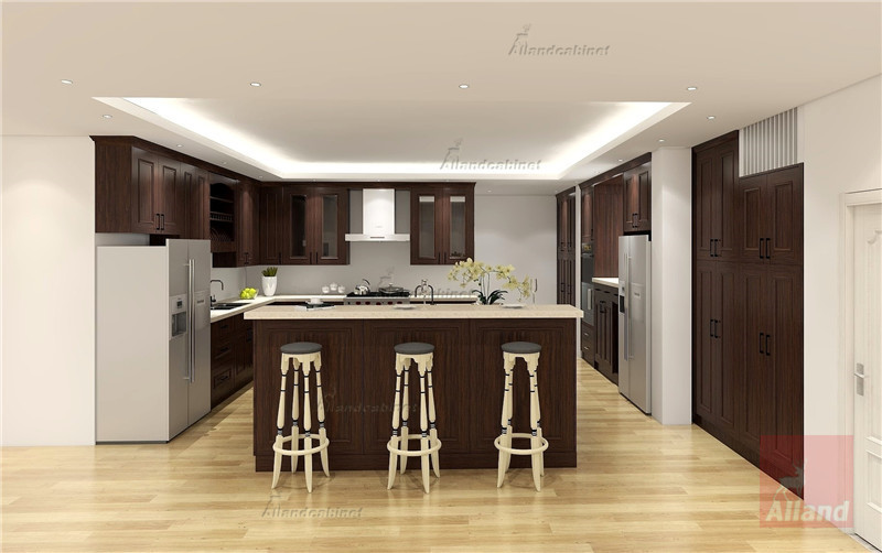 Allandcabinet Classic designing walnut solidwood Kitchen cabinet