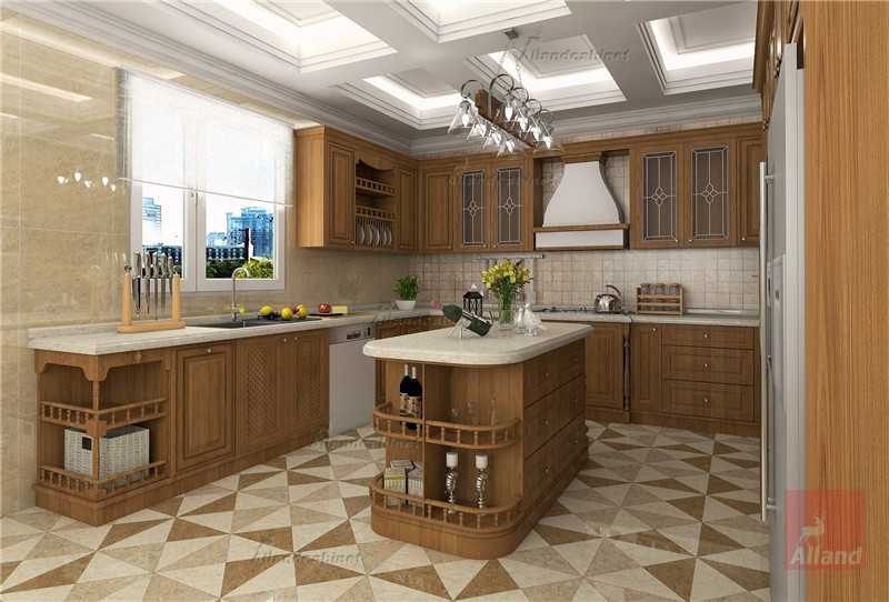 Allandcabinet Classic designing brown solidwood Kitchen cabinet