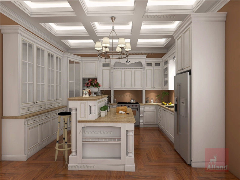 Allandcabinet cherry solid wood kitchen cabinet