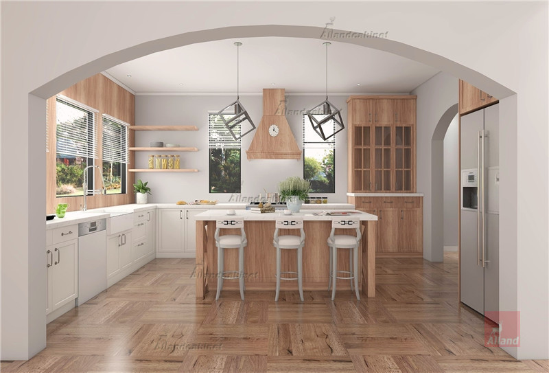 Allandcabinet country style with the combination of wood and white kitchen cabinet