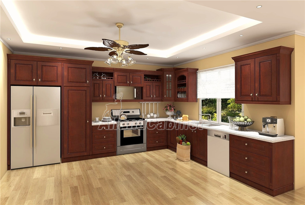 Allandcabinet dark brown L shaped solid wood kitchen cabinet