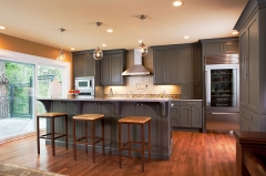 Dark grey full overlay shaker door kitchen -Allandcabinet