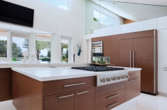 Modern design two tone kitchen design with wood grain -Allandcabinet