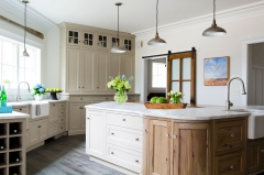 Transitional framed flush inset door kitchen with biege painted and rustic wood tone cabinets-Allandcabinet