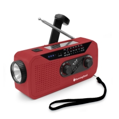 RunningSnail MD-058 Emergency Weather Solar Crank Radio with Earphone Jack and Charging Indicator, 2000mAh Battery Powered AM/FM/NOAA Radio