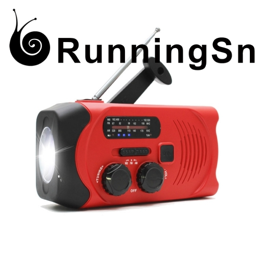 RunningSnail MD-088P Emergency Weather AM/FM NOAA Solar Powered Wind up Radio with LED Flashlight, 2000mAh Power Bank for Cell Phone and SOS