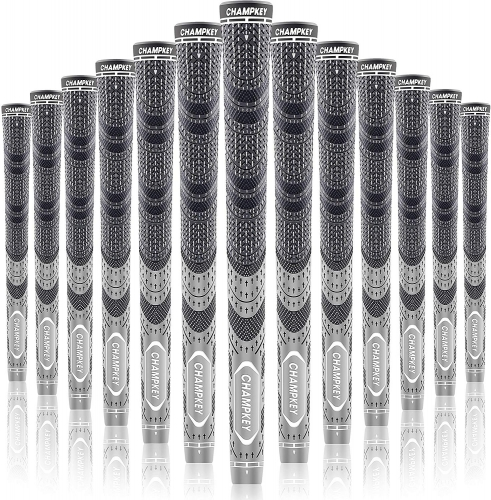 Champkey MCS Golf Grips Set of 13(Free 15 Tapes Included) -Large Lower Hand Cord Rubber Golf Club Grips Ideal for Clubs Wedges Drivers Irons Hybrids
