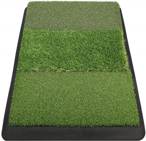 "Champkey 17"" 27"" Premium Tri-Turf Golf Hitting Mat - Heavy Duty Rubber Base Practice Mat Portable Driving, Chipping, Training Aids Ideal for Indoor &"