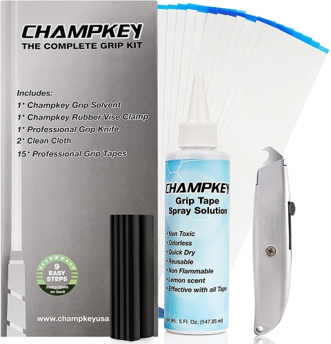 "Champkey Deluxe Grip Repair Kits for Regripping Golf Clubs - Hook Knife,2"" x 10"" Professional Tape,5 oz Solvent,Clean Cloth and Rubber Vise Clamp"
