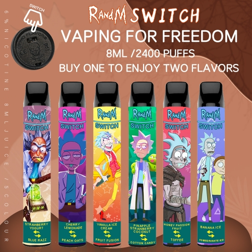 Original RandM Switch R&M 2 in 1 Disposable Vape 2400Puffs Pod Device (Rick and Morty Design)