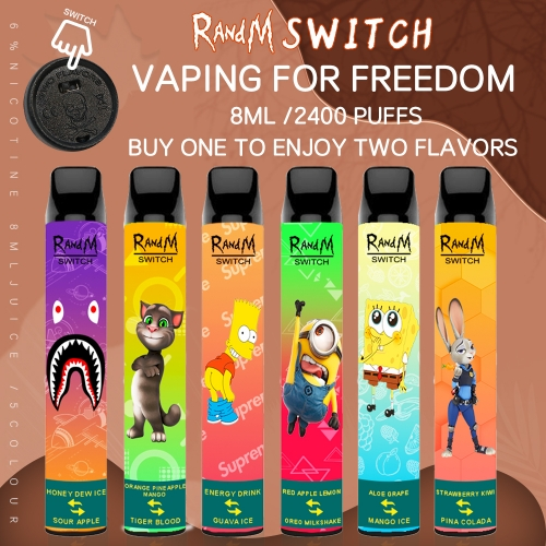 Original RandM Switch R&M 2 in 1 Disposable Vape 2400Puffs Pod Device (Cartoon Design)