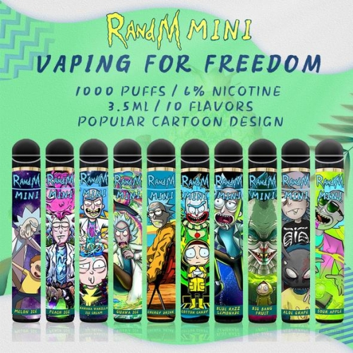 Original RandM Mini 1000 Puff Disposable Vape with Rick And Morty Design Pod Device