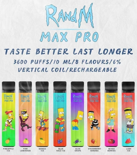 Original RandM Max Pro Rechargeable 3600 Puff Disposable Vape Pen Pod Device