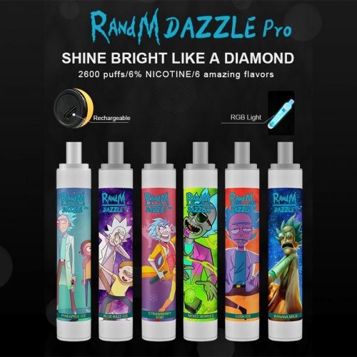Original RandM Dazzle Pro 2600 Puffs RGB Glowing Disposable Vape Pod Device