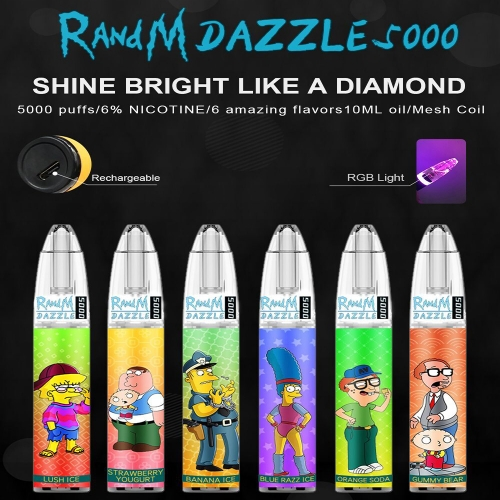 Original Refillable RandM Dazzle 5000 RGB Light Glowing Disposable Vape Pod Device