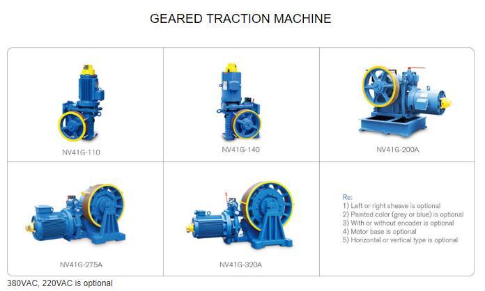 Geared Traction Machine Geared Traction Machine Suspension:1:1 Max.Static Load : 7500kg Control : VVVF Brake : DC110V 2A