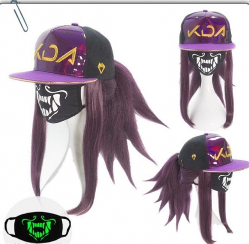 LOL KDA Akali Cosplay Hat Mask and  wig