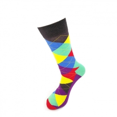 Daily Wear Happy Mens Cotton Socks Colorful Rhombic Socks