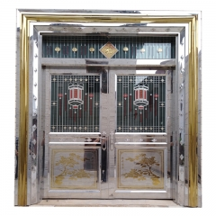 Luxury Entry Double Stainless Steel Glass Door Des...