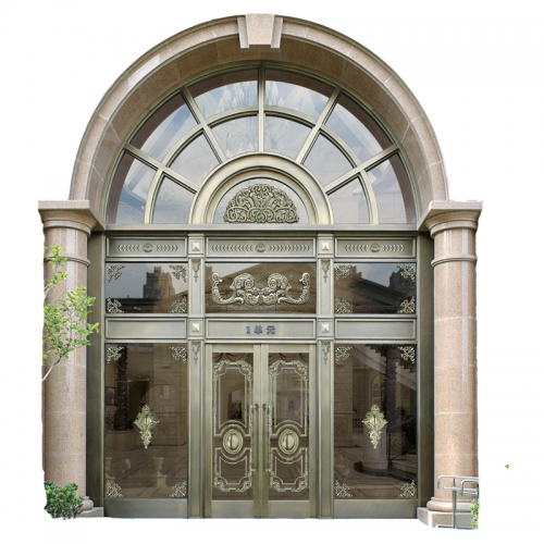 Villa Commercial Exterior Glass Garden Door,Front Security Entrance Copper Gate Door