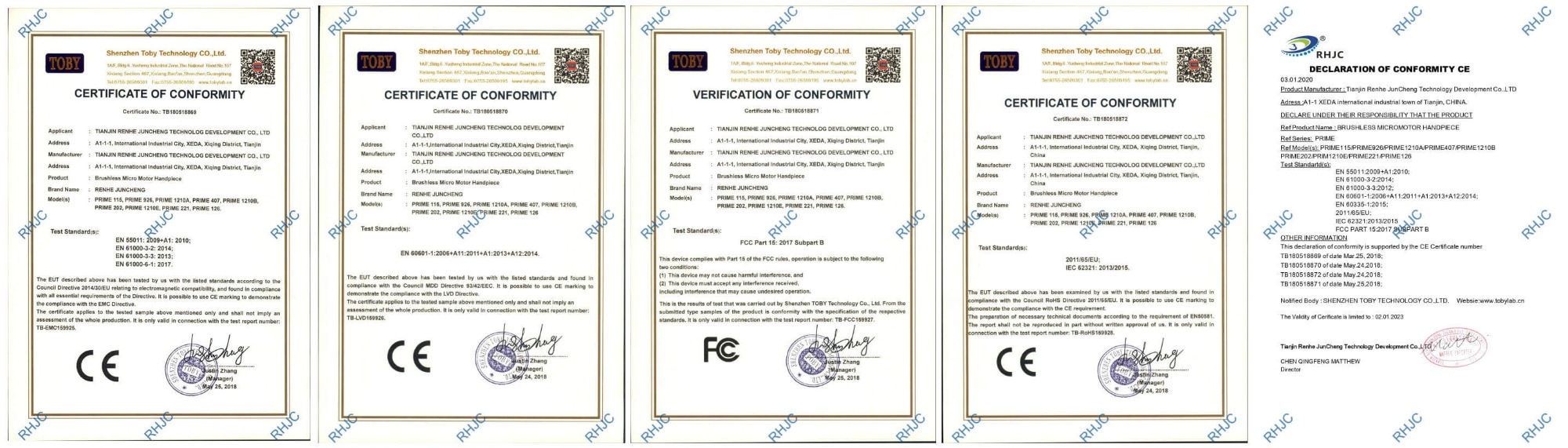 CE, ROSH and CFF Certificates
